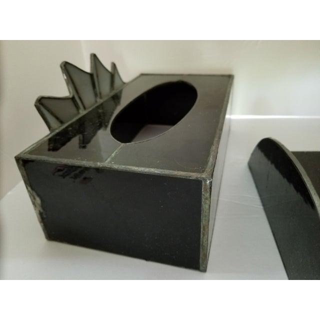French Art Deco Black Glass Waste Basket - Set 3 For Sale - Image 9 of 12