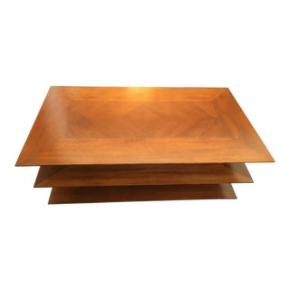 Mid-Century Modern Walnut Three Tier Wood Coffee Table