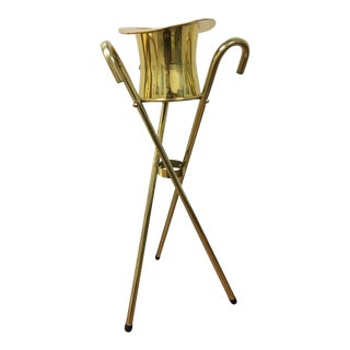 Vintage Mid-Century Brass Top Hat and Canes Ice Bucket For Sale