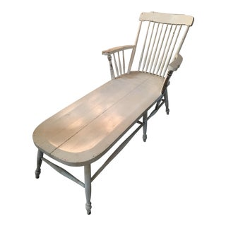 Rare Wood Heywood Wakefield Chippy White Chaise Lounge