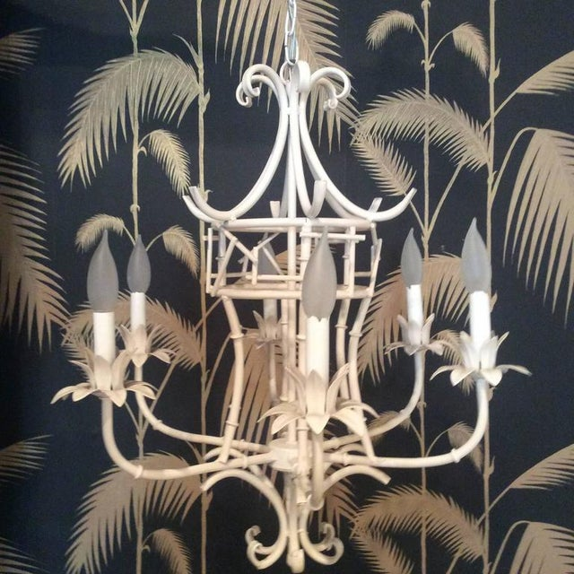Asian Vintage Faux Bamboo Metal Pagoda Chandelier For Sale - Image 3 of 9