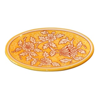 Vintage Italian Hand Painted Floral Decorative Platter For Sale