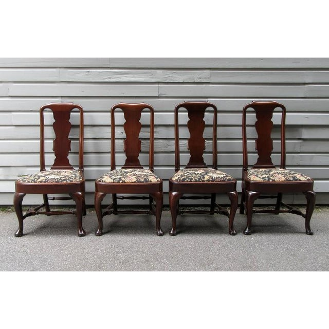 Set of Four 19th Century English Queen Anne Mahogany Splat Back Dining Chairs - Image 2 of 10