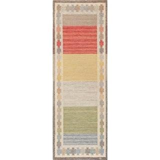 Vintage Mid-Century Ingegerd Silow Scandinavian Rug - 3′ × 8′3″ For Sale