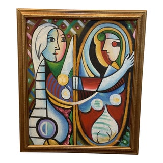 Girl Before a Mirror Painting - Interpretation Copy Signed by Artist Mark L For Sale