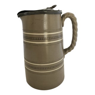 Drabware Jug With Pewter Lid For Sale