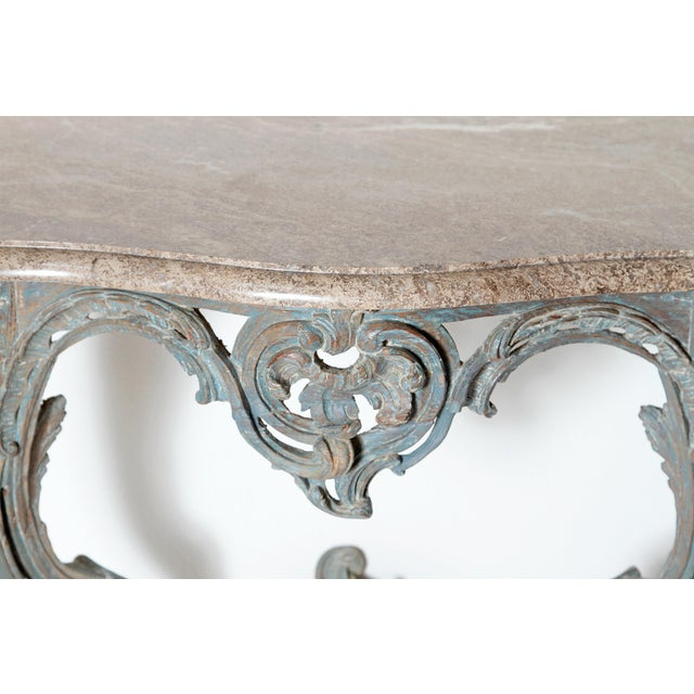 Marble Period Painted Louis XV Console With Shaped Marble Top For Sale - Image 7 of 13