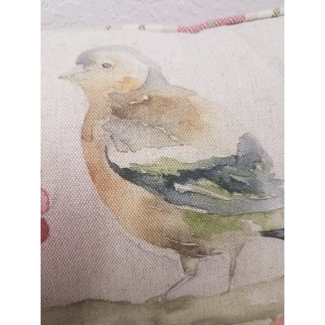 2020s Two Birds With Berries Pillow - Made in Wales For Sale - Image 5 of 11