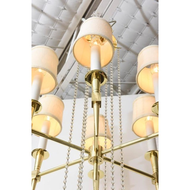 Brass Polished Brass and Glass Beaded Chandelier by Tommi Parzinger For Sale - Image 7 of 10