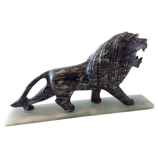 Hollywood Regency 1970's Marble Carved Lion For Sale - Image 3 of 5