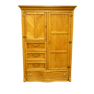 20th Century Traditional Pulaski Furniture Keepsakes Collection Oak Cabinet Chest/Clothing Armoire For Sale