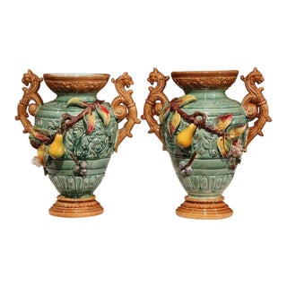 Pair of 19th Century French Hand-Painted Barbotine Green Vases With Yellow Pears