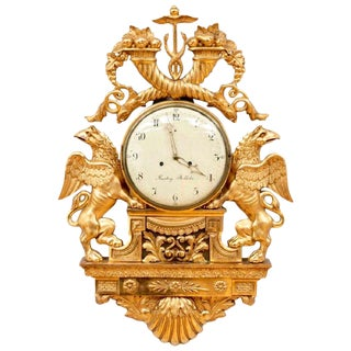 Late 18th Century Swedish Gustavian Giltwood Cartel Clock by Henrik Beurling For Sale