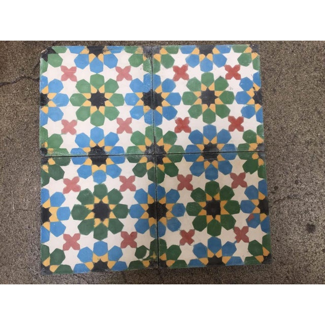 Blue 1990s Moroccan Hand-Crafted encaustic Cement Tile with Traditional Fez Moorish Design - Set of 56 For Sale - Image 8 of 13