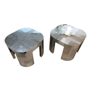 Paul Evans Monumental Cityscape Rounded Edge Side Tables - a Pair For Sale