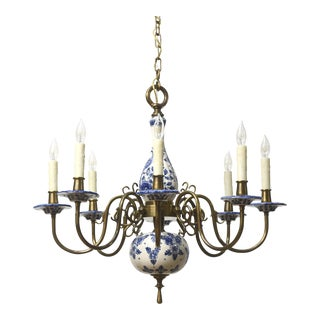 Delft Blue & White Chandelier For Sale