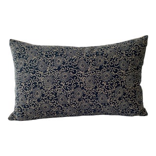 Vintage Japanese Hand-Blocked Chrysanthemum Lumbar Pillow For Sale