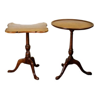 1900s Queen Anne Candle Stands/ End Tables -a Pair For Sale