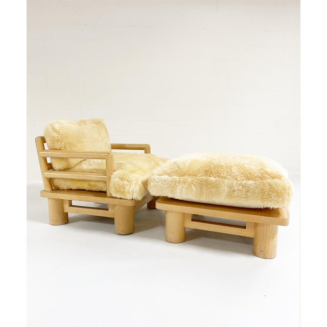 1970s Karl Springer Dowelwood Lounge Chair and Ottoman With Sheepskin Cushions For Sale - Image 5 of 5
