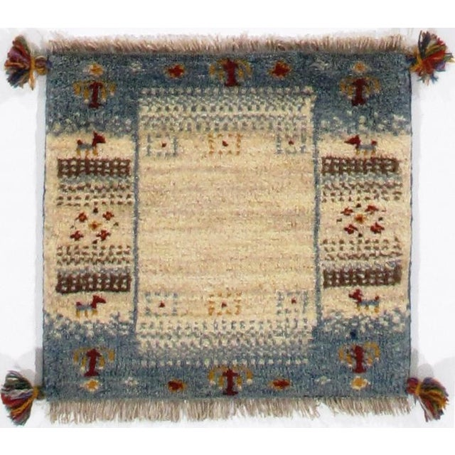 Persian Genuine Persian Gabbeh Scatter Rug - 1′3″ × 1′3″ For Sale - Image 3 of 3
