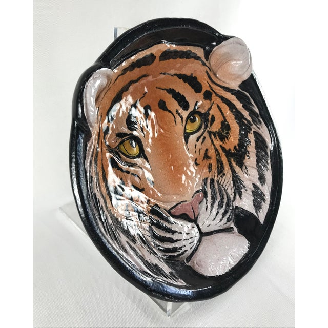 Hollywood Regency 1970s Vintage Italian Ceramic Tiger Face Dish For Sale - Image 3 of 13