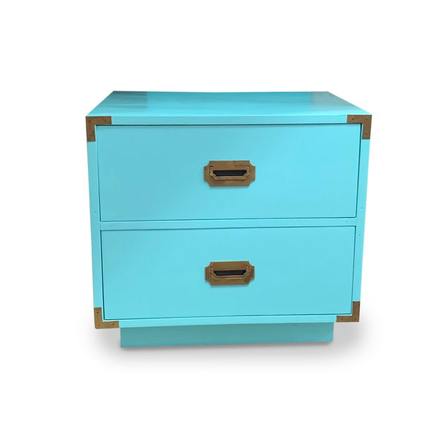 These Dixie nightstands have been joyously reimagined in a bright, confident aqua. Perfect for a summer home or stylish...