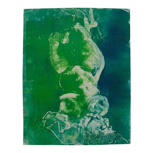 Mermaid in Green Monoprint - Image 1 of 4