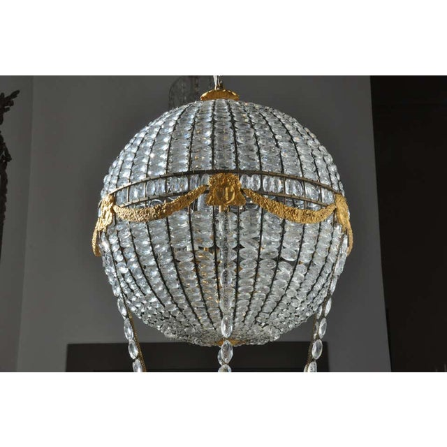 1900 - 1909 Montgolfier Ormolu and Crystal Hot Air Balloon Chandelier For Sale - Image 5 of 9