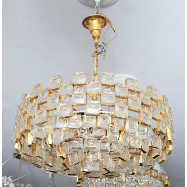 Vintage Palwa square glass and brass chandelier.