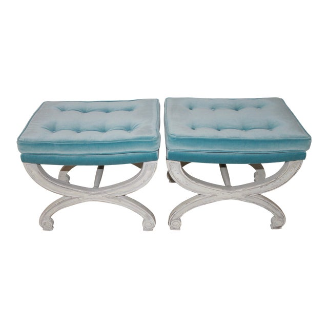 Marvelous Vintage Mid Century Cerule Benches A Pair Gmtry Best Dining Table And Chair Ideas Images Gmtryco