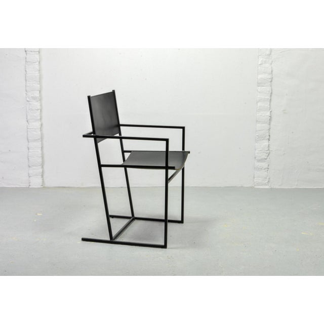 Black Set of Two Mid-Century Dutch Design Black Leather and Metal Dining Chairs Ag-6 by Albert Geertjes, the Netherlands, 1984 For Sale - Image 8 of 11