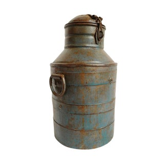 Vintage Iron Milk Container For Sale