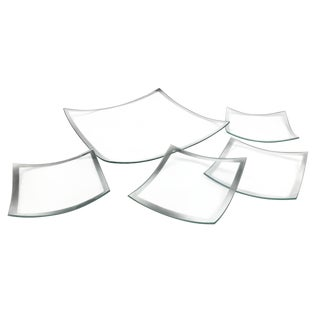Vintage Silver Rimmed Glass Plates - Set of 5 For Sale