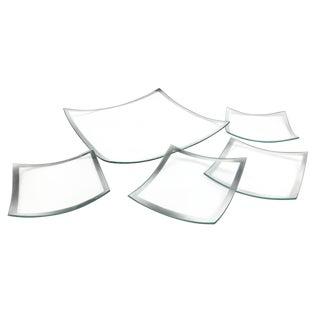Vintage Silver Rimmed Glass Plates - Set of 5