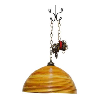 20th Century Boho Chic Beehive Rattan Bamboo Wicker Hanging Pendant Light