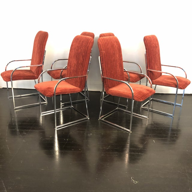 DIA - Design Institute America Milo Baughman for Dia High Back Dining Chairs- Set of 6 For Sale - Image 4 of 11