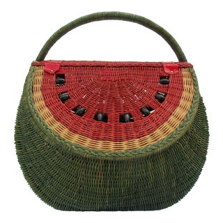 20th Century Country Watermelon Picnic Basket For Sale
