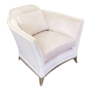 Classic Silver Leaf Curved Accent Arm Chair in Buff Velvet For Sale
