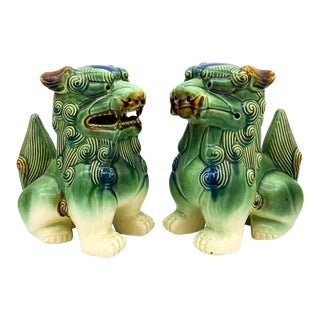 Large 1980's Vintage Chinese Foo Dogs - a Pair For Sale