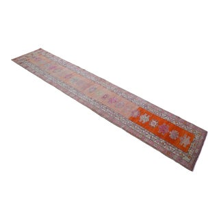Hand-Knotted Turkish Runner Rug. Tribal Herki Faded Extra Long Runner 2′9″ × 14′2″ For Sale