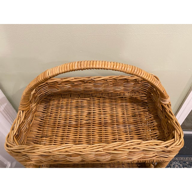Rustic Large Palm Beach Wicker 3-Tier Tall Basket With Shelving For Sale - Image 3 of 10
