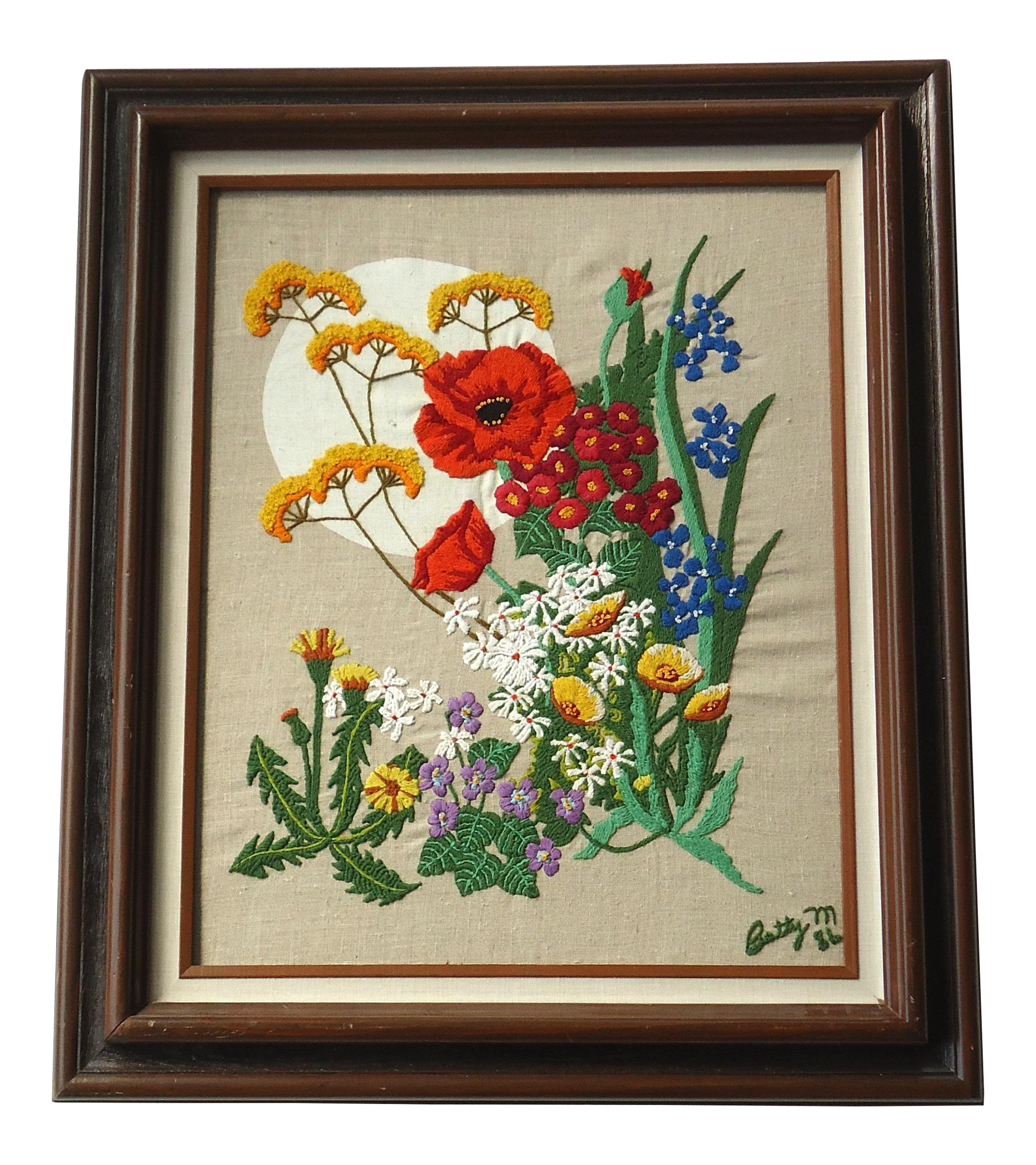 1980s Vintage Framed Floral Embroidery Flowers Textile Art Chairish