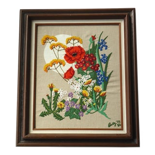 1980s Vintage Framed Floral Embroidery Flowers Textile Art