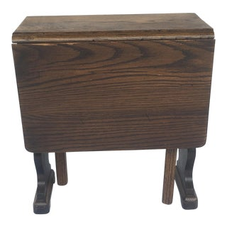 Small Petite Mini Vintage Mid-Century Wood Drop Leaf Side Table For Sale