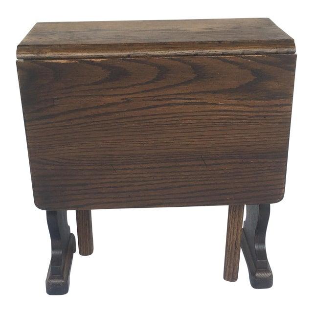 Small Petite Mini Vintage Mid-Century Wood Drop Leaf Side Table For Sale