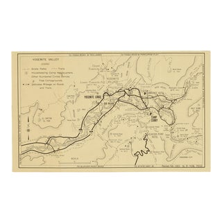 Original Vintage Map of Yosemite Valley Circa 1955 For Sale