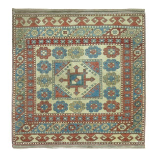 Vintage Wool 20th Century Caucasian Mat Rug For Sale