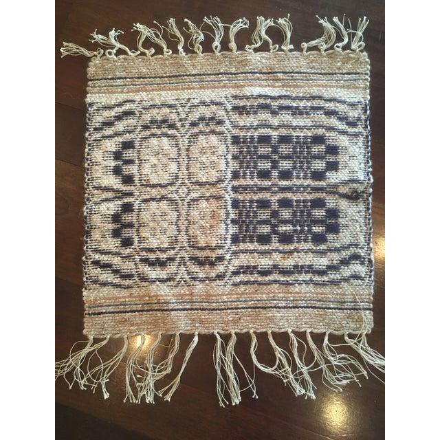 1960s 1960s Boho Chic Reversible Wool Weaving Rug Saddle Blanket For Sale - Image 5 of 7