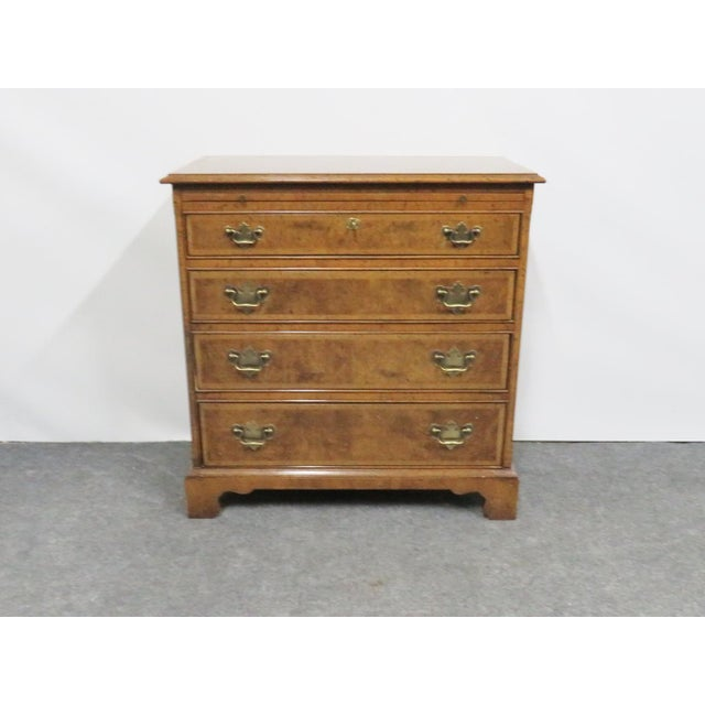 Baker furniture bachelor chest, walnut and burlwood, 4 drawers with pullout side