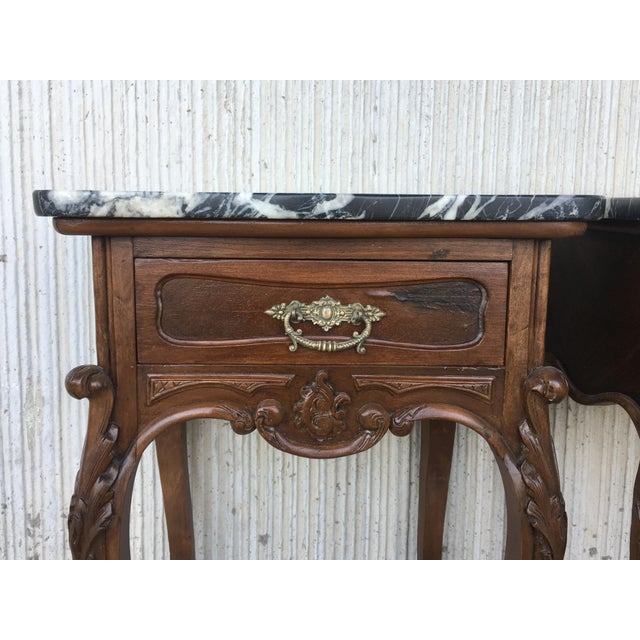 19th Century Pair of French Louis XV Carved Nightstands For Sale - Image 9 of 12